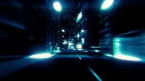 la noche azul de la ciudad 3D enciende el fondo gráfico del movimiento del lazo de VJ almacen de metraje de vídeo