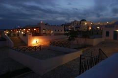 La noche baja en aldea griega húngara Imagen de archivo libre de regalías