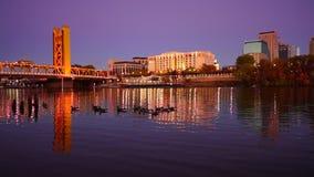 La noche baja los patos céntricos de las aves acuáticas del río del horizonte de la ciudad de Sacramento almacen de video