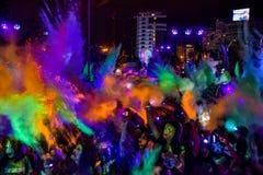 La noche Bucarest del funcionamiento del color Imagen de archivo