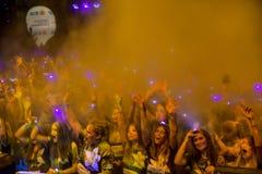 La noche Bucarest del funcionamiento del color Foto de archivo libre de regalías