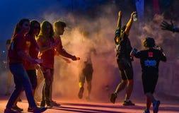 La noche Bucarest del funcionamiento del color Fotografía de archivo libre de regalías