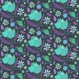 La noche colorea el modelo con las rosas y las hojas azules Foto de archivo libre de regalías