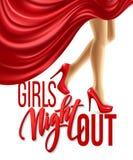La noche de la muchacha hacia fuera va de fiesta diseño Ilustración del vector Foto de archivo