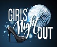 La noche de la muchacha hacia fuera va de fiesta diseño Ilustración del vector Imagen de archivo