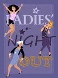 La noche de las señoras hacia fuera ilustración del vector