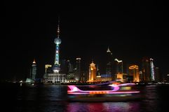 La noche de Pudong, Shangai Foto de archivo libre de regalías