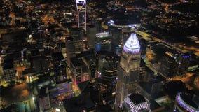 La noche del norte aérea 2017 de Carolina Charlotte July 4K inspira 2 almacen de video