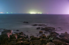 La noche del océano tranquilo Imagen de archivo libre de regalías