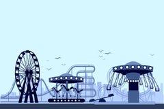 La noche del parque de atracciones stock de ilustración