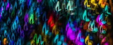 La noche enciende la partitura formada bokeh, luz defocused del bokeh, bl Foto de archivo libre de regalías