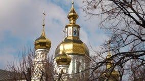 La noche ortodoxa de la asunción del St de la catedral de la asunción Cathedral almacen de video