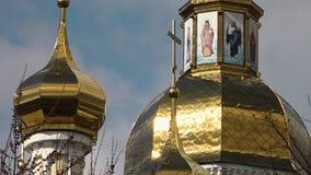 La noche ortodoxa de la asunción del St de la catedral de la asunción Cathedral almacen de metraje de vídeo