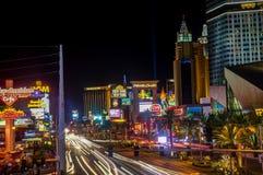 La noche tiró la opinión larga de la tira de la exposición en Las Vegas Nevada foto de archivo