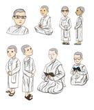 La nonne de Bhikkhuni sont entièrement nonne bouddhiste ordonnée, vecteur de bande dessinée Photo libre de droits