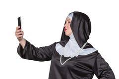 La nonne fait le selfie Images libres de droits