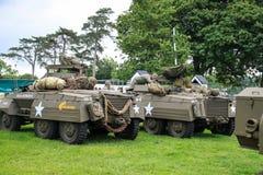 La Normandie, le 4 juin 2014 : les véhicules militaires traversent à gué M8 s'occupant des célébrations pour le soixante-dixième  photographie stock