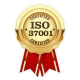 La norme d'OIN 37001 a certifié la rosette - gestion d'Anti-corruption Photos libres de droits