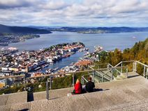 La Norvège, Bergen Downtown View Landmark images libres de droits