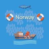 La Norvège : pêche industrielle, poisson d'eau de mer, bateaux de poissons, cargaison Photo stock