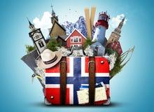 La Norvège, rétro valise photo libre de droits