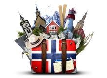 La Norvège, rétro valise image libre de droits