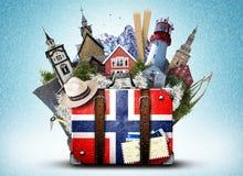 La Norvège, rétro valise image stock