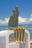La Nostalgia. Many unique statues situated along the Malecon in Puerto Vallarta, Mexico. 'La Nostalgia' is romantic and very popular among locals and Stock Photography