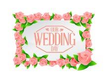 la nostra illustrazione del bordo dei fiori di rosa di giorno delle nozze Fotografia Stock