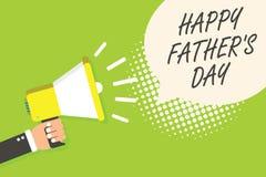 La nota de la escritura que muestra al padre feliz s es día Tiempo de exhibición de la foto del negocio del año para celebrar el  Fotografía de archivo
