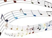 La nota de la música y el espacio y las estrellas con el abstrtact colorean el fondo libre illustration
