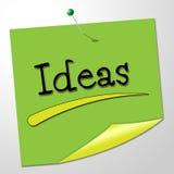 La nota de las ideas significa mensajes y el concepto creativos Fotos de archivo