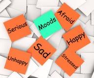 La nota de post-it de los humores significa emociones y sensaciones