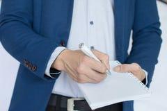 La nota di affari, scrive, rinchiude Fotografia Stock Libera da Diritti