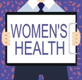 La nota di scrittura che mostra a donne la s è salute Foto di affari che montra Women& x27; conseguenza di salute fisica di s che illustrazione di stock