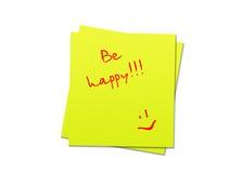 La note collante soit heureuse Image libre de droits