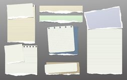 La note colorée, morceaux de papier de carnet avec le bord déchiré a collé sur le backgroud gris-foncé Illustration de vecteur Photos stock