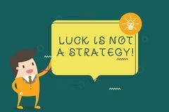 La note d'écriture montrant la chance n'est pas une stratégie La photo d'affaires le présentant n'est pas chanceuse une fois prév illustration stock