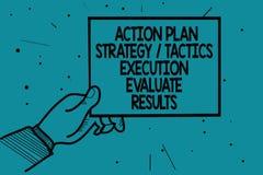 La note d'écriture montrant l'exécution de la tactique de stratégie de plan d'action évaluent des résultats Homme de présentation illustration stock