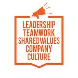 La note d'écriture montrant le travail d'équipe de direction a partagé la culture d'entreprise de valeurs Groupe de présentation  illustration libre de droits