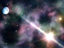 La notte del cielo stars la luna Fotografia Stock Libera da Diritti