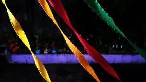 La notte della decorazione del partito favorisce la carta variopinta dei nastri Immagini Stock Libere da Diritti