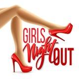 La notte della ragazza fuori fa festa la progettazione Illustrazione di vettore Fotografia Stock