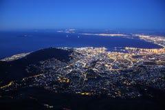 Cape Town entro la notte Fotografia Stock