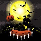 La notte di Halloween con la zucca, il castello ed i pipistrelli sulla luna piena vector il fondo dell'illustrazione Immagini Stock Libere da Diritti