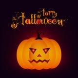 La notte di Halloween ha offuscato il fondo con la zucca e l'iscrizione Halloween felice di calligrafia Illustrazione di vettore Fotografie Stock