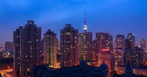 La notte di Harbin Immagine Stock