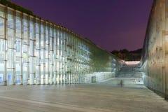La notte ha sparato della biblioteca sotterranea dell'università della donna di Ewha - Seoul, Corea del Sud Fotografia Stock