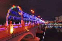 la notte a Sha Tin Festive Lighting immagine stock libera da diritti