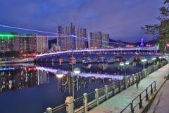 la notte a Sha Tin Festive Lighting immagine stock